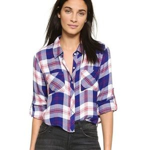 Rails Cropped Plaid Button Down Flannel Shirt M